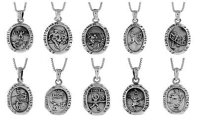 """Sterling Silver St. Christopher with Sports Pendant,Charm,18"""" Italian Box Chain"""