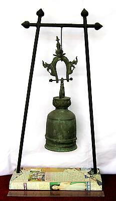LARGE 18th.c MANDALAY Bronze Buddhist Temple Bell & FREE STAND