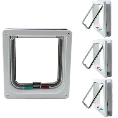 White Frame 4Way Locking lockable Pet Cat Small Dog Flap Door Small Medium Large