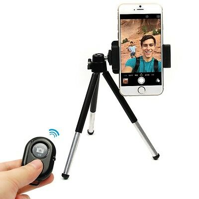 Bluetooth Remote Selfie Shutter + Tripod Stand Holder For Android iOS Cell Phone