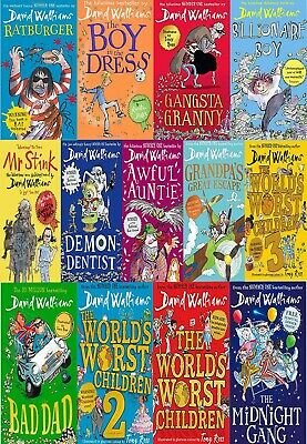 David Walliams 12 Books Collection Set Bad Dad, Midnight Gang, Grandpa's Great
