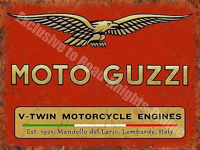 Vintage Garage Moto Guzzi, 121, Italian Motorcyles V-twin, Large Metal Tin Sign