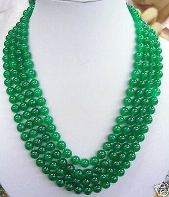 Natural 4 rows 8MM green jade bead necklace 17-20""
