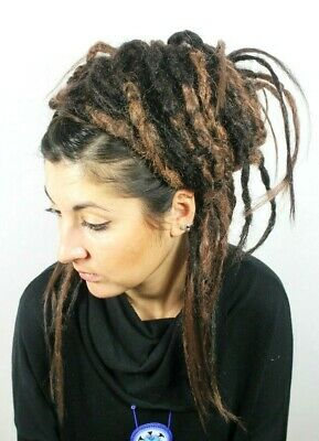 Ombre Brown Crochet Dread Falls, Hair Pieces, 20 Inches, Unisex.