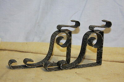 Vintage Wrought Iron Brackets Silver & Black Spatter Curtain or Shelf Industrial