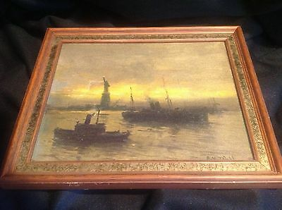 Antique Oil Painting of The Statue of Liberty Listed Artist Arthur Vidal Diehl