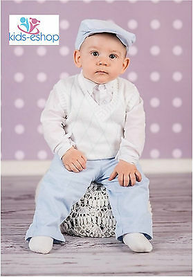 Baby Boy White Blue Smart Top Outfit Christening Christmas Party Newborn 18M