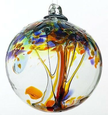 """Kitras TREE OF ENCHANTMENT HAPPINESS Hand Blown Art Glass Ornament Ball 2.75"""""""