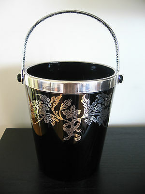 Black Glass Sterling Silver Overlay Ice Bucket