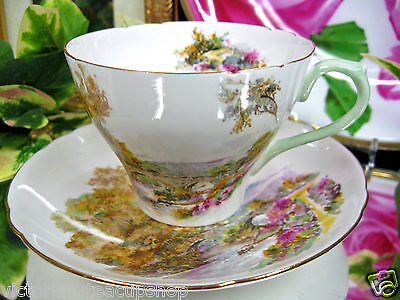 SHELLEY TEACUP  pretty HEATHER PATTERN TEA CUP AND SAUCER