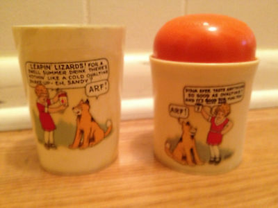 Vintage Cold Ovaltine Little Orphan Annie Shake Up Mug Set  made by Beetleware