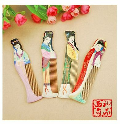 Lots4pcs Charming Chinese Handmade Wooden Comb With Beautiful Oriental