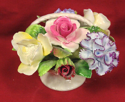 Vintage Royal Adderly Floral Bone China Basket with Bouquet England