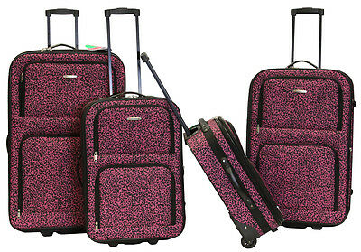 Pink Zebra Design 5-Piece Expandable Lightweight Rolling Luggage ...