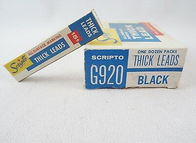 12 Packs Vintage Scripto All Surface G920 Black Thick Lead - New Old Stock