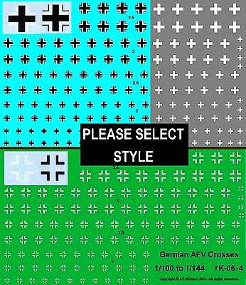 1/100 1/144 1/160 10mm to 15mm decals WWII German Military Crosses  YK-06 3 4 5