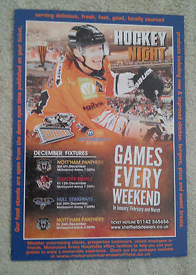 SHEFFIELD STEELERS ICE HOCKEY Flyer 2014-2015 Games Motorpoint Arena Advertising