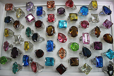 Wholesale mixed Lots 26pcs colorful trendy Imitation zircon lady's rings AH184