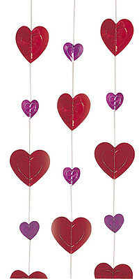 12 Shimmering Heart Strings 6ft Beautiful Red Valentine's Ceiling Decoration