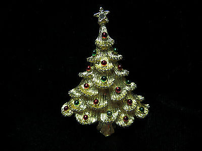Gold Tone Christmas Tree Pin Brooch Red Green Ball Ornaments Costume Jewelry