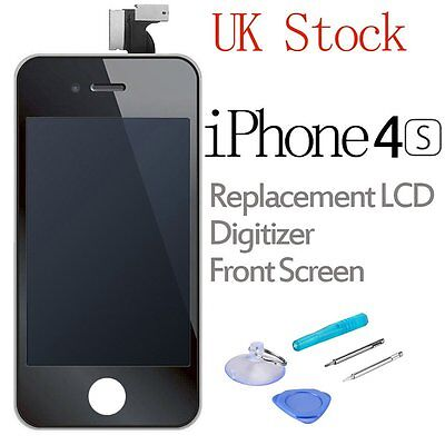For iPhone 4S LCD Screen Replacement Touch Digitizer Assembly Front Glass Black
