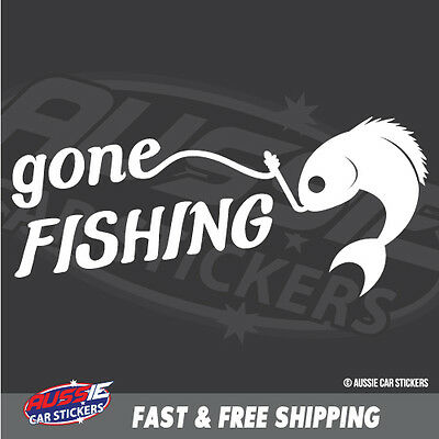GONE FISHING Sticker Decal Boat Fishing Tackle 4x4 #5801J