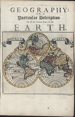 World in spheres 1701 by Moll showing California as island fine antique map