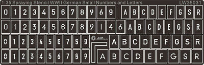Alliance Model Works 1:35 German Small Numbers Letter Stencil Mask #LW35031