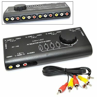 4 in 1  Audio Video AV Signal Switcher TV Splitter S-Video Selector w/ RCA Cable