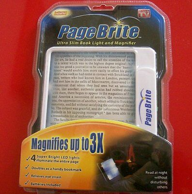 PAGE BRITE  ULTRA SLIM BOOK LIGHT MAGNIFIER LED Lighted 3x MAGNIFIES Magazine