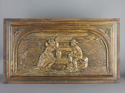 Antique French Architectural Wood Carved Wall Panel Brittany Breton