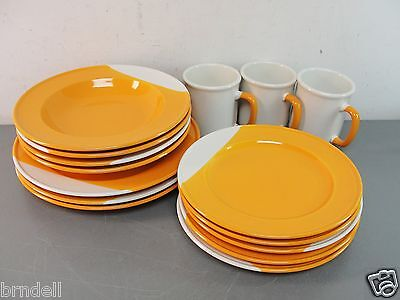PRIMULA PLATE CUP LOT SET 15pc DINNER SALAD DISH ORANGE WHITE HAND PAINTED ITALY