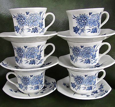 6 (SIX) Mek54 Meakin J & G Liberty CUP & SAUCER SETS for one price!