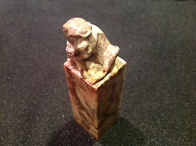 Antique Chinese Chop Seal Soapstone Carved with Monkey