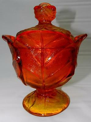 Vintage VIKING Glass ORANGE CABBAGE large Footed Covered Dish w-factory Sticker