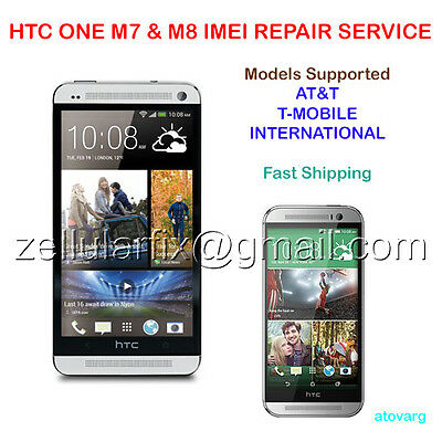 Htc One M7 M8 M9 Bad Imei Esn Blacklist Repair Service At&t T-Mobile Mail-In Fix