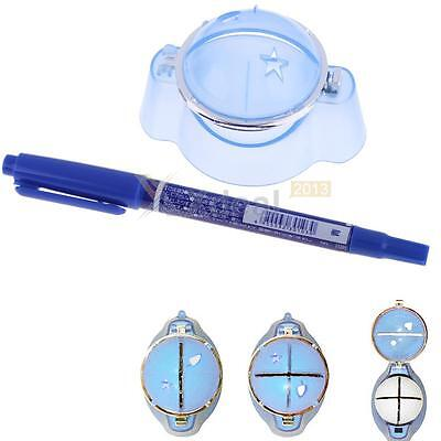 New Golf Ball Liner Marker Template Drawing Alignment Tool Plastic + Blue Pen