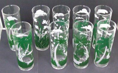 Lot/9 Libbey Tropical Palm Tree Collin High Ball Glasses  7' Tall