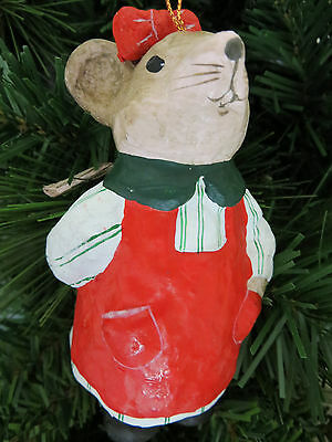 Holiday Mouse in Red Apron Christmas Tree Ornament Paper Mache Stocking Stuffer