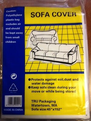 "2 Plastic Sofa Couch Cover For Moving And Storage 45""x152"""