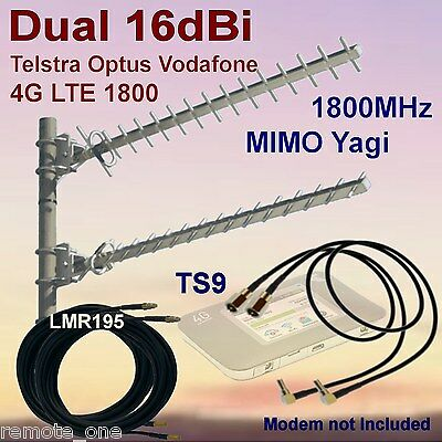 Dual 16dBi 4G MIMO 1800MHz Yagi Antenna Kit for Netgear 782S 2xCoax 2xTS9 Patch