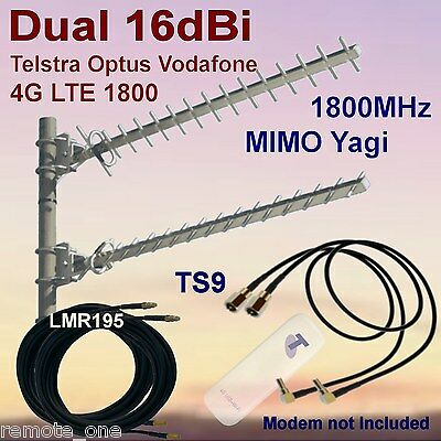 Dual 16dBi 4G MIMO 1800MHz Yagi Antenna Kit for Huawei  E8278 2xCoax 2xTS9 Patch