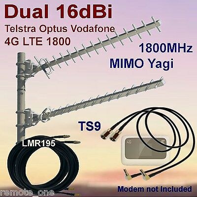 Dual 16dBi 4G MIMO 1800MHz Yagi Antenna Kit for  ZTE MF910  2xCoax 2xTS9 Patch
