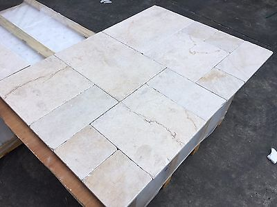 Crema Marfil Opus Pattern, Tumbled Marble Tiles, Floor/Wall, 100x100mm SAMPLE