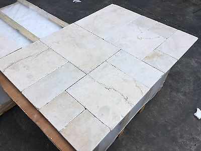 Crema Marfil Opus Pattern, Tumbled Marble Tiles, Floor and Wall Cover, Limestone