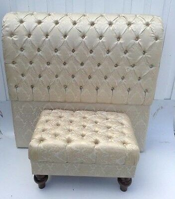 Full Size Bed Headboard Backdrop Classic in Brocade Upholstery & Ottoman Chair