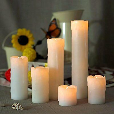 6 FLICKERING FLAMELESS LED PILLAR CANDLES Realistic Home Decor Timer Light 2-9'