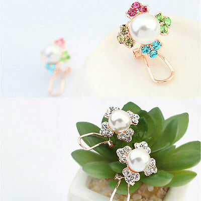 Fashion New Womens Clover Flower Pearl Crystal Earrings Ear Studs Pin Lucky Gift