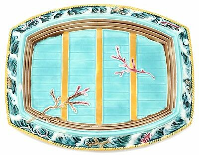 "Antique 1880 Wedgwood Yzi Platter Tray ""Boat On Waves"" Majolica Pottery"