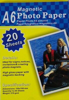 Magnetic Photo Paper 20 4x6 gloss Sheets SIZE A6 Magnetic Photo Paper craft Art